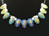 Vintage Faceted Blue Teal Acrylic & Rhinestone Gold Tone Statement Necklace