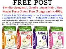 12 x 400g SLENDIER Konjac Pasta Mixed * 3 each Angel Hair Noodle Spaghetti Rice
