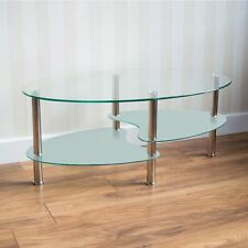 Cara Coffee Table Frosted Glass Top Stainless Steel Modern Oval Living Room