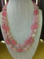 Vtg 2 Strand Pink Satin Art Glass Necklace Mid Century 1950's Cotton Candy Retro
