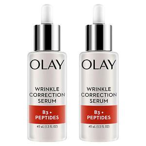 2 Pack Olay Serums Wrinkle Correction Serum B3+Peptides 1.3 oz Each