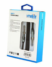 Genuine IMobile 3.5mm Jack To Jack Coiled Aux Cable Audio Lead For MP3,MP4, iPod