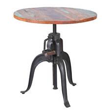 Table ronde de salle à manger bar 75 cm bois de manguier métal désign