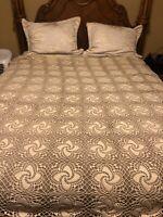Hand Crochet Lace Ecru Off White Coverlet Vintage Bedspread Boho Full