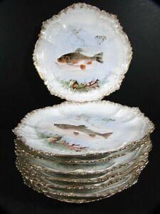 8 Antique Limoges France Fancy Scalloped FISH PLATES
