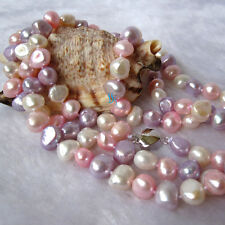 """50"""" 8-9mm White Pink Gray-Blue Baroque Freshwater Pearl Necklace"""
