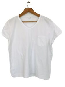 Country Road White Classic Cotton Roll Cap Sleeve Tshirt with Pocket, 16-18