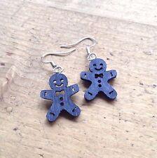 Gingerbread Man Drop Earrings Blue Cute Kitsch Candy Gift