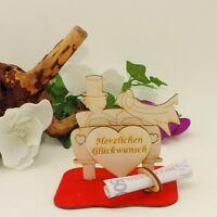 Geschenk zur Hochzeit Auto mit Herz graviert Holz Flitterwochen Geldgeschenk