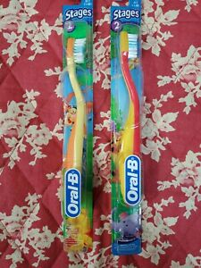 Vintage Oral-B STAGES 2 (2-4) Toothbrush Soft Winnie the Pooh ~2005-Yellow Pair