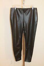 Chico's Black Label sz 2 L Faux Leather Leggings w/ Zippers Stretch Panel