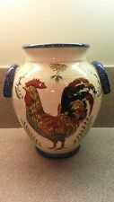 LARGE CLAY POTTERY VASE ROOSTER DESIGN HAND PAINTED
