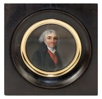Antique French Portrait Miniature, Gentleman in Red Vest, Revolutionary War