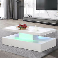 Modern High Gloss White LED Lighting Coffee Table w/Remote Control Living Room