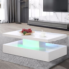 High Gloss White LED Lighting Coffee Table w/Remote Control Living Room Modern