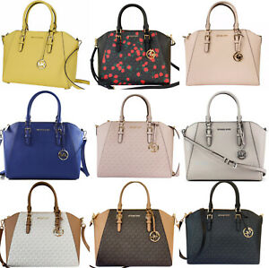Michael Kors Ciara Large Top Zip Satchel Saffiano Leather Crossbody Handbag