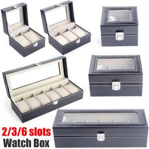 PU Leather Watch Display Box 2-6 Grids Storage Case Jewelry Collection Organizer