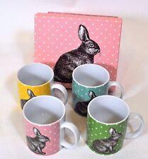 BIA Cordon Bleu BUNNY Rabbit Polka Dot Porcelain Coffee Mug Cup Set 4 NIB Easter