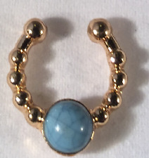 -Blue Slate Stone) Faux Septum Ring (Gold