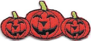 "2"" inch Halloween Pumpkin Jack o Lantern Trio Embroidered Patch"