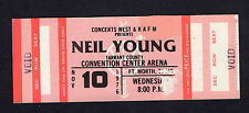 1976 Neil Young & Crazy Horse full concert ticket Fort Worth TX Long May You Run