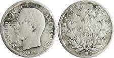 NAPOLEON III   50  CENTIMES  ARGENT  TÊTE  NUE  1860 BB  STRASBOURG ABEILLE RARE