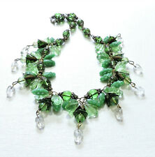 Vintage Green Flowers Leaves Lampwork Art Glass Bead Necklace Jl20Bn114
