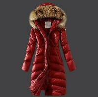 Europe Winter Hooded Down Padded Coat Womens Puffer Parka Fur Collar Slim Jacket