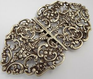 LOVELY GENUINE ENGLISH ANTIQUE LATE VICTORIAN 1900 STERLING SILVER NURSES BUCKLE