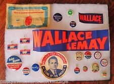 Vintage Political Pinback Lot-Wallace-Nixon-Muskie-Humphrey-McGovern-Stevenson