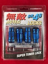 MUTEKI SR48 4 WHEELS LOCK LUG NUTS SET 12X1.5 1.5 ACORN RIMS OPEN END BLUE
