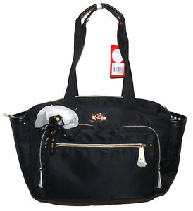 Il Tutto Evie Baby Bag Black Vinyl Tote Missing Long Strap NWT SP £109