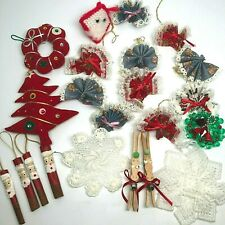 Lot of 24 Vintage Hand Made Christmas Ornaments Origami, Santas, Reindeer, More