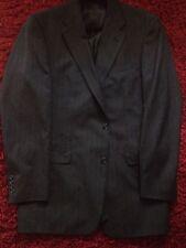 Men's Burberry's Blazer Sport Coat 42 XL Black With Brown Stripes 100% Pure Wool