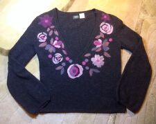 LA REDOUTE Creation SZ 6/8 Sweater Lambswool V Neck Designed In France Floral