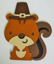 Cute Pilgrim Squirrel Thanksgiving Fall Paper Scrapbook Embellishment