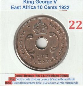 1922 East Africa George 10 Cents Coin (VF condition)