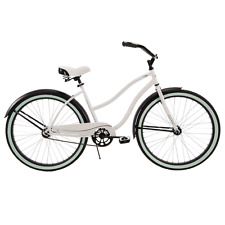 "Huffy 26"" Cranbrook Womens Comfortable Beach Cruiser Bike 1-Speed White/Blue"