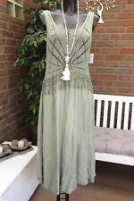 Summer Knitted Dress Crochet Pompom Strap Hippie Ibiza Khaki 36 38 40