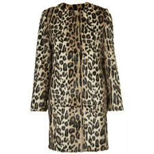 BNWT TOPSHOP UK SIZE 8 FAUX FUR FITTED COAT LEOPARD PRINT JACKET WOMENS LADIES