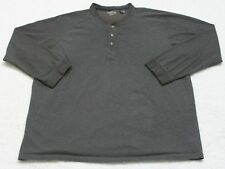 St. John's Bay Gray Cotton Men's Top 3XLT Long Sleeve Sueded Henley 3-Button