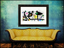 Joan Miro Sculptures Large Color Lithograph Signed Abstract Modern Framed Art
