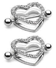 """2pcs Clear Gem Paved Heart Nipple Shield 14G 7/8"""" Barbell / Free Shipping"""
