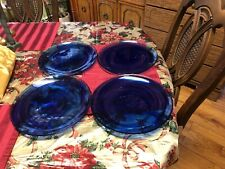 Artistic Accents ? Turkish Glass ? Cobalt Blue Swirl Glass Dinner Plates Set / 4