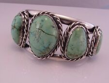 VTG Sterling Silver 925 LARGE Blue Turquoise Detailed Cuff Bracelet Signed CB