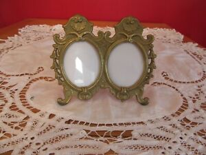 Heavy Antique Solid Brass Rococo Baroque Ornate Double Oval Photo Frame