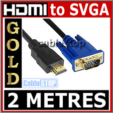 2m Hdmi A 15 Pin SVGA Plomo Monitor Tv Cable Conector Dorado Full Hd 1080p