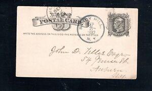 1882 Fancy Cancel Sandy Hill, N.Y., Sc #UX5 Postcard to Auburn, N.Y.