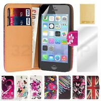 NEW PU LEATHER WALLET CASE COVER FOR IPHONE 5C WITH FREE SCREEN PROTECTOR