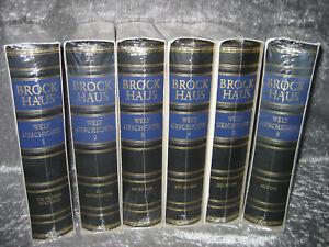 Brockhaus Bibliothek Welt-Geschichte Leder Goldschnitt 6 Bände komplett OVP
